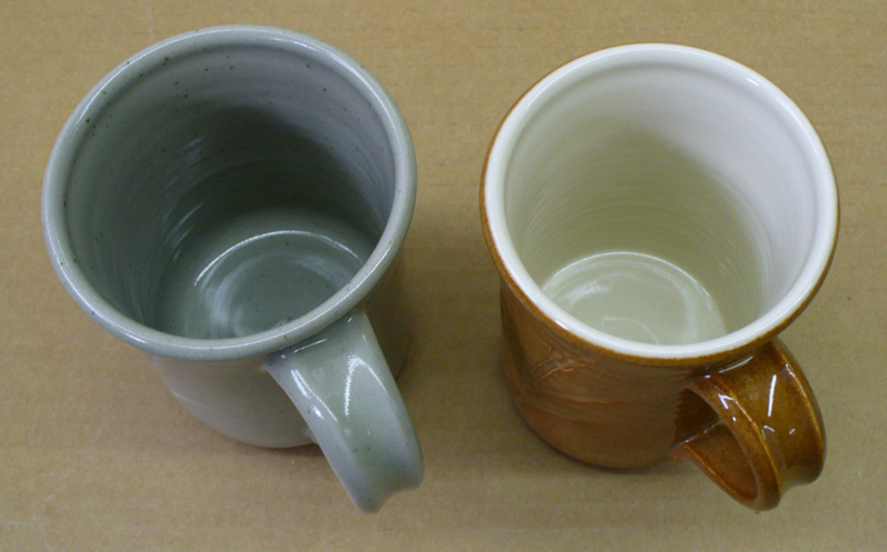 Cone 5 reduction mug (left) and cone 6 oxidation mug (right)