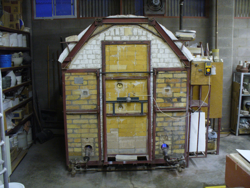 A gas kiln built by Luke Lindoe in the 1960s is still used at Plainsman Clays today