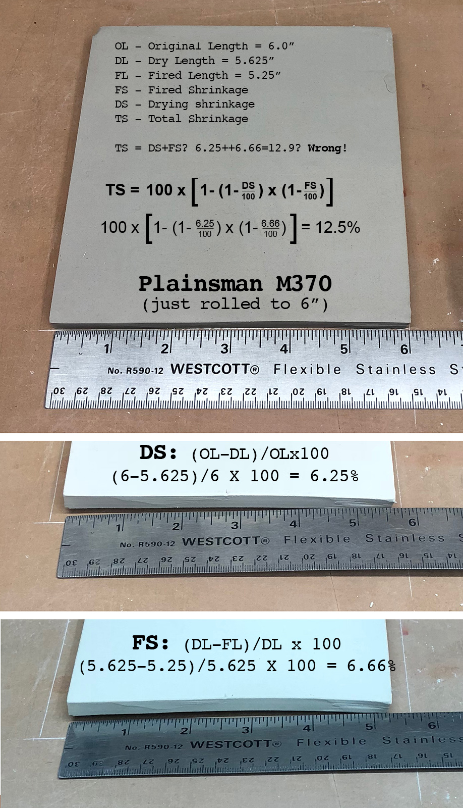 Calculate the total shrinkage of a porcelain hand-made tile