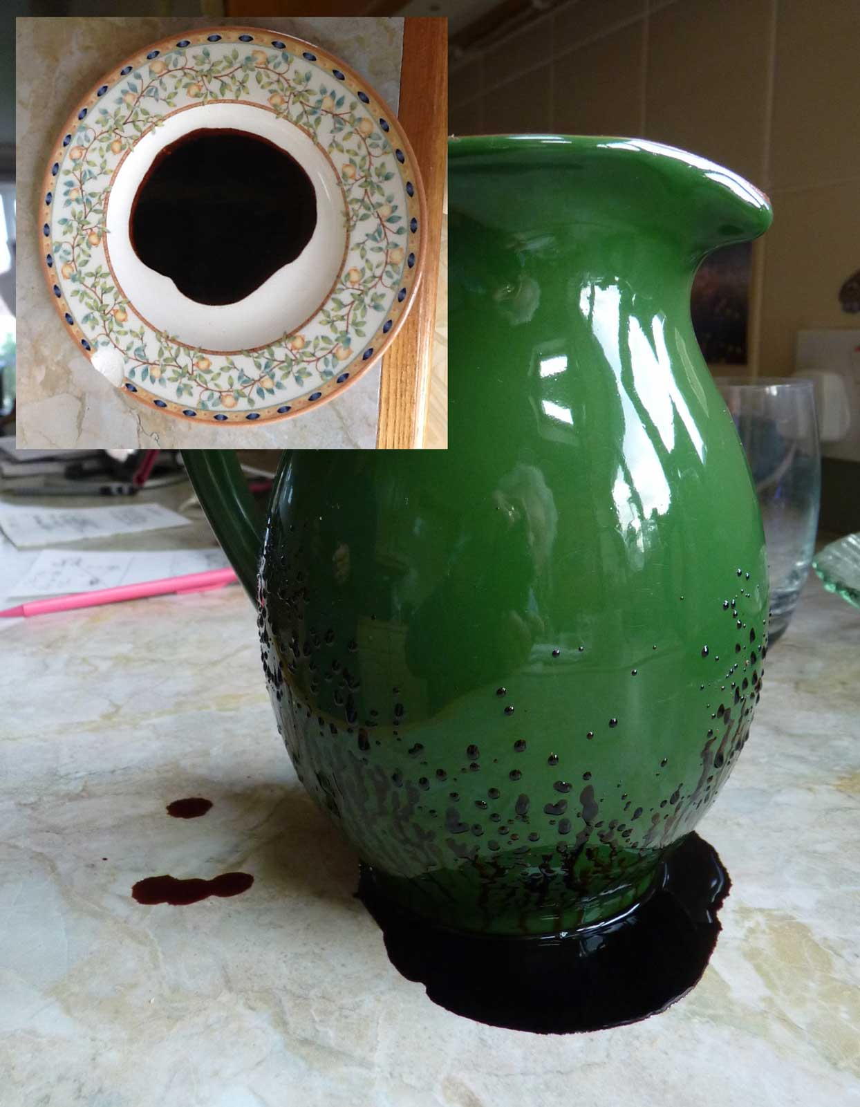 This pitcher is oozing a black goo after water sat in it overnight