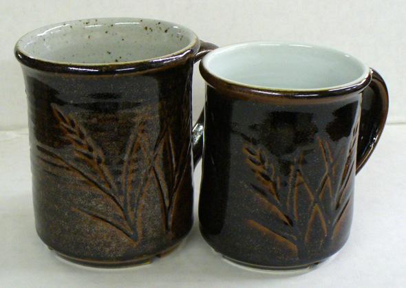 The same Tenmoku on a buff stoneware and a Grolleg porcelain