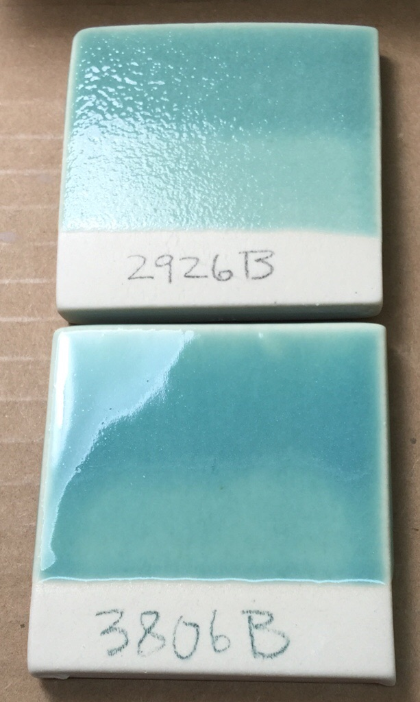 2% Copper carbonate in two different cone 6 copper-blues