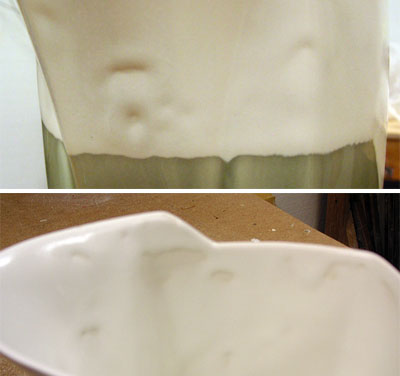 Crawling glaze on slip cast ware is common