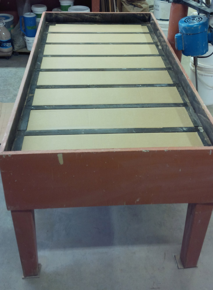 A table frame almost ready to fill with a 7-bag plaster mix
