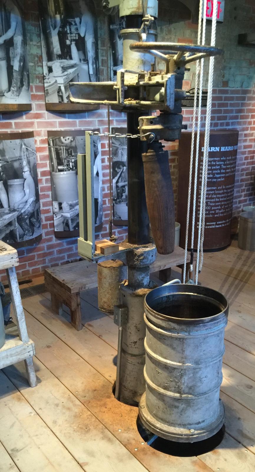 A Weeks stoneware crock rolling machine