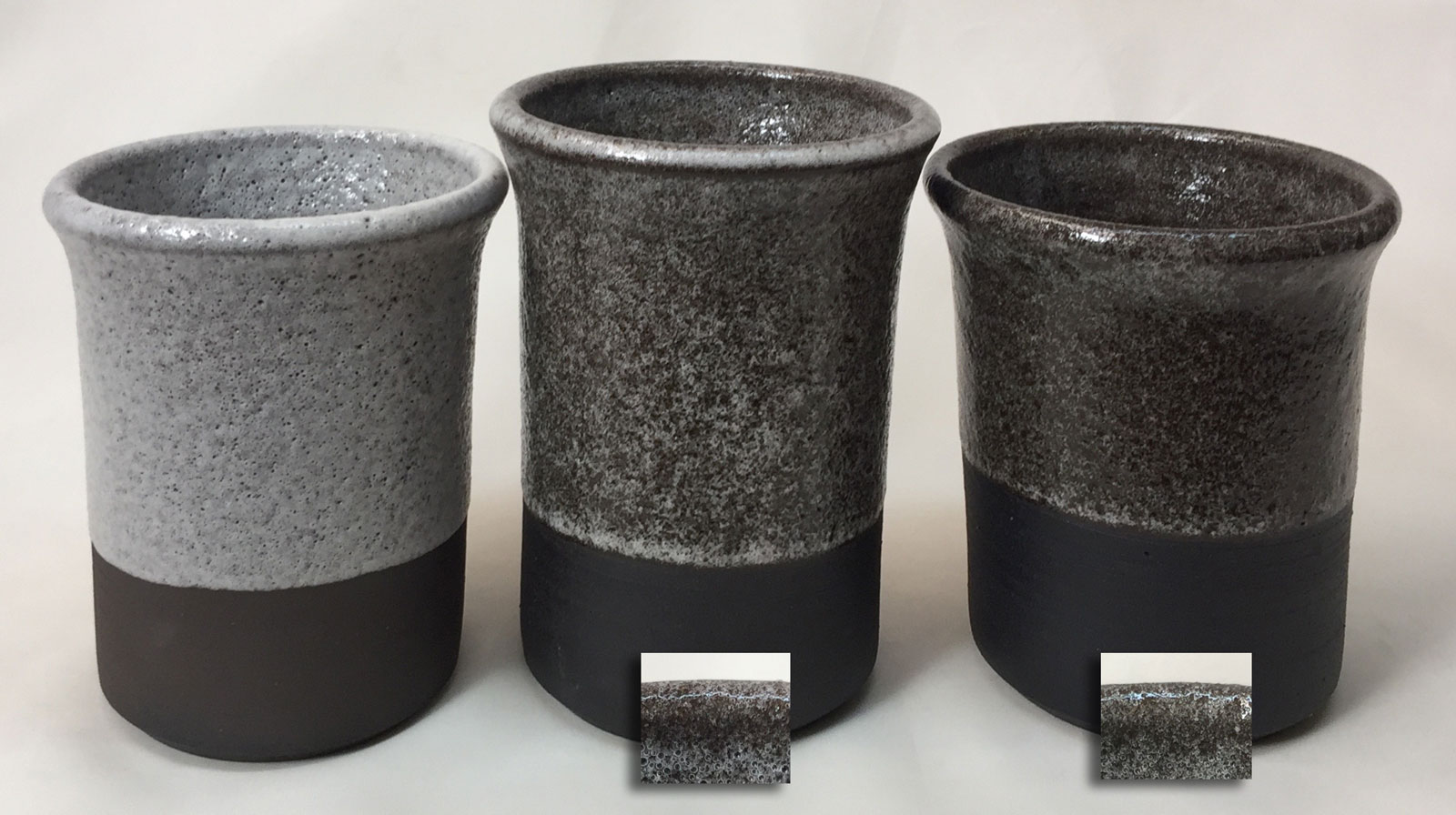 Bubble city with Seattle Midnight body and G3806C glaze at cone 01, 4 and 5