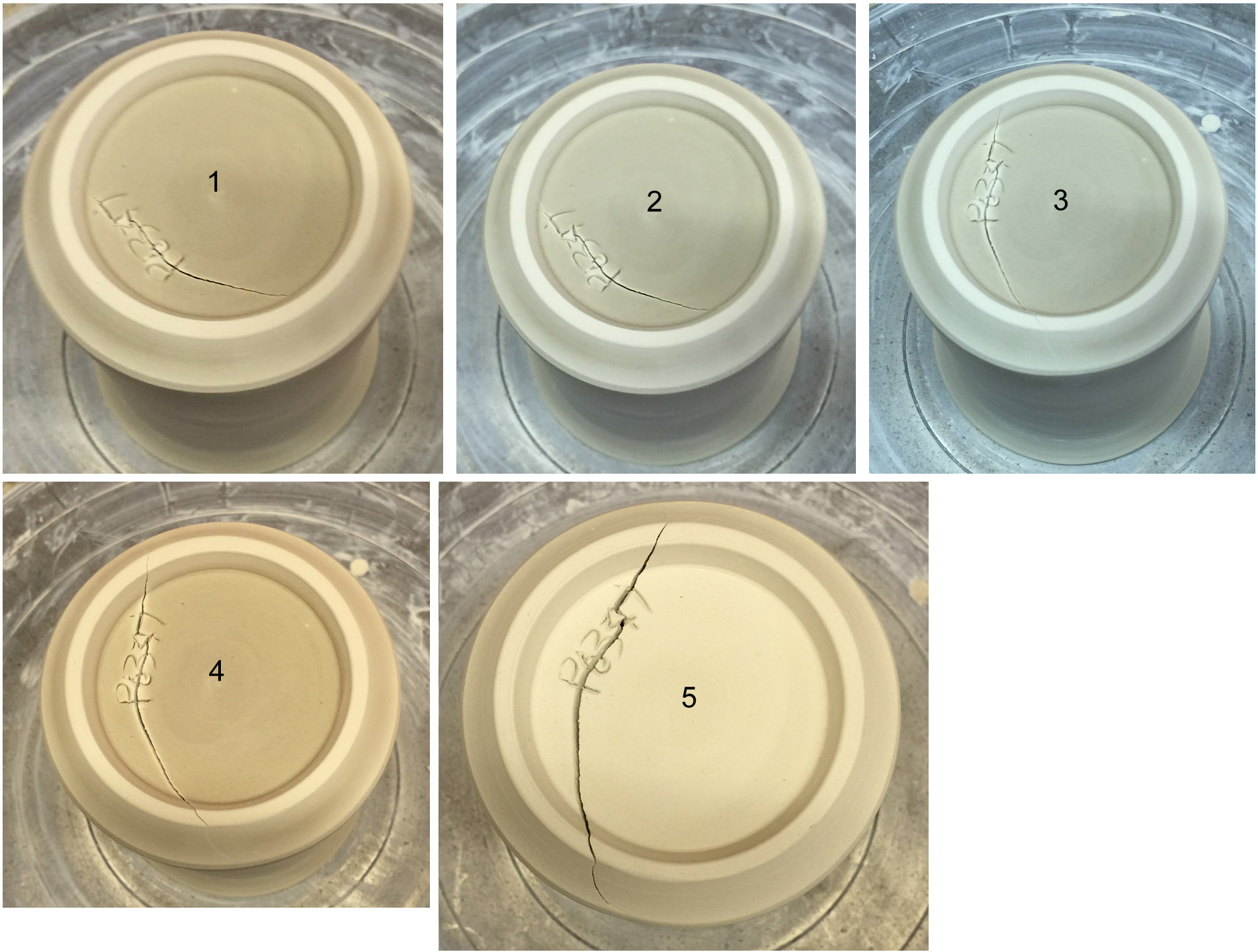 Why do cracks across the base of ware form an S shape?