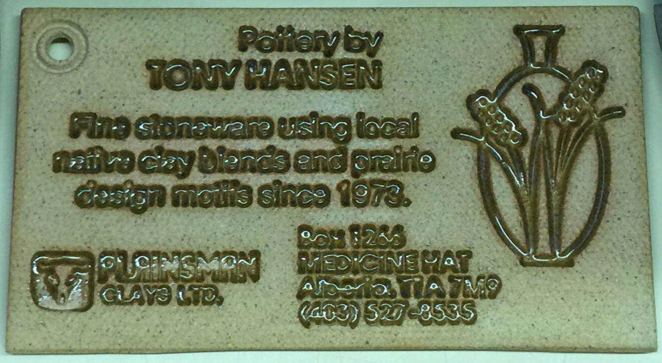Ceramic business card of Tony Hansen