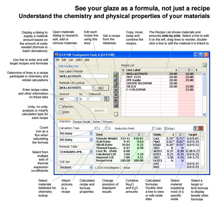 The main recipe window in Digitalfire Insight software