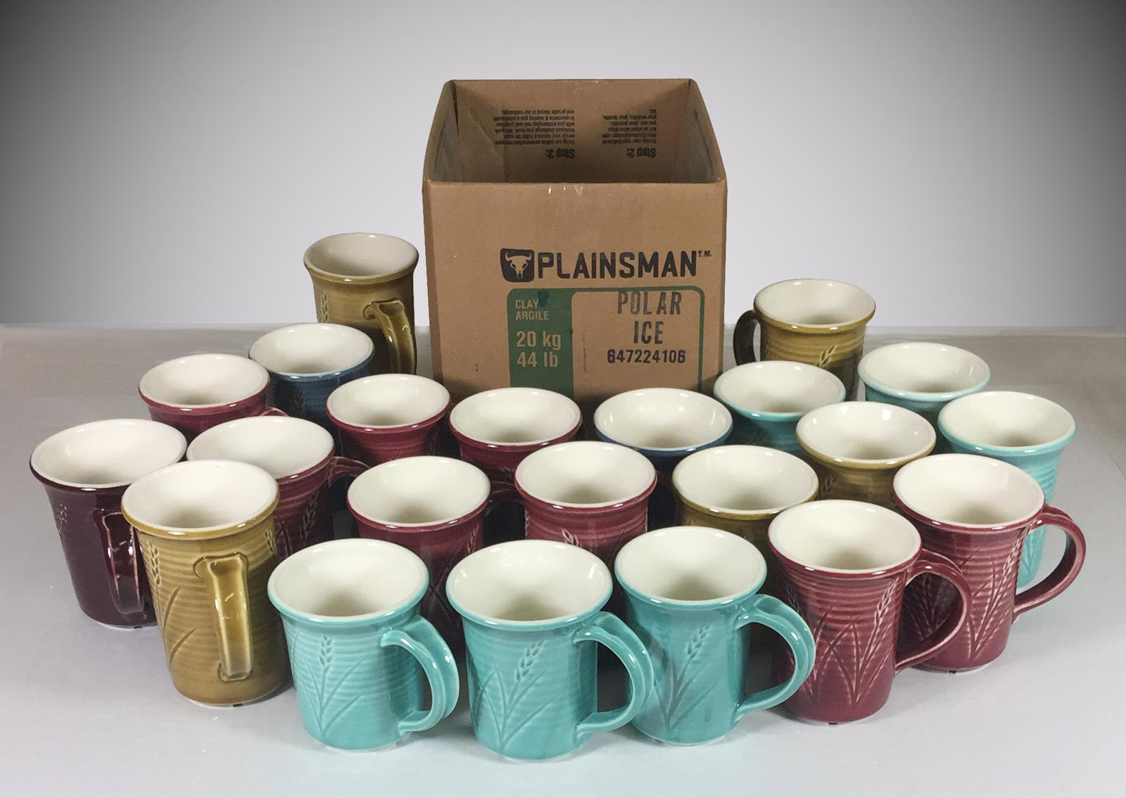 How many porcelain mugs from one box of clay?