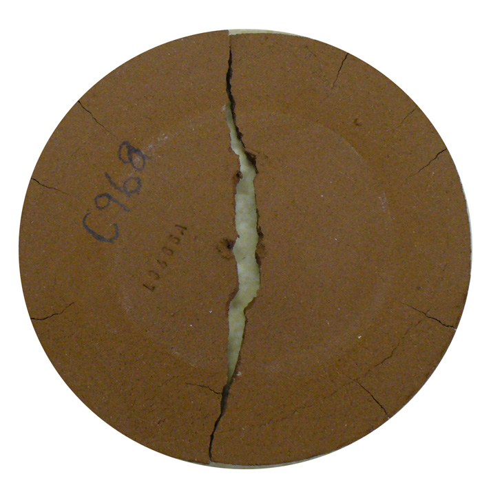 A DFAC drying test disk of a terra cotta pottery clay from St. Ignacio, Sinaloa, Mexico