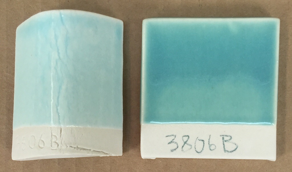 1% and 2% copper carbonate in a cone 6 transparent