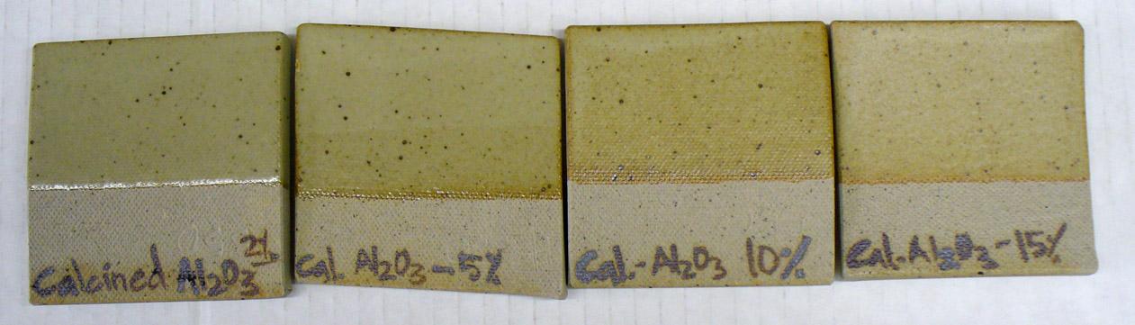 2, 5, 10 and 15% calcined alumina added to Ravenscrag Slip
